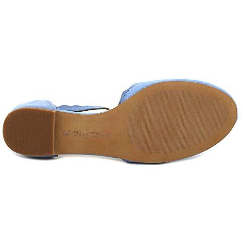 CROWN Vintage Womens chantei cv Leather Closed Toe Casual Slide Sandals Sky Blue lvUOEWX