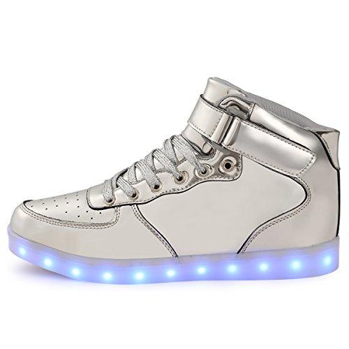 Scarpe Led Silver Tuluo Uomo Donna Usb High Carica Luce Sneakers Colori E Kid 7 Top AgAYHOx