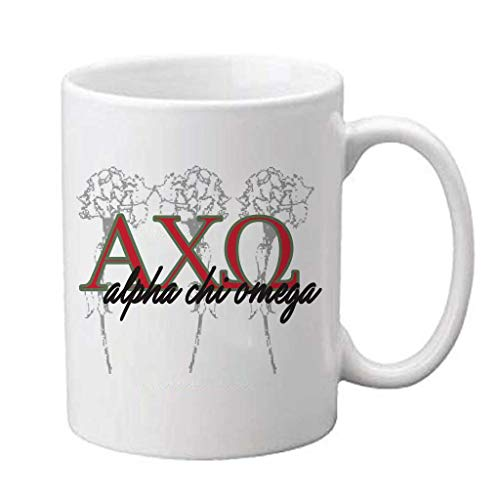 VictoryStore Ceramic Mugs - Alpha Chi Omega, Greek Letter Monogram Coffee Mug, 15oz
