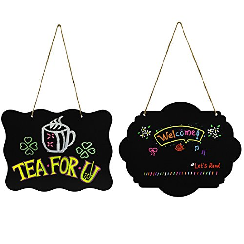 Discount 2 PCS Wooden Double Sided Hanging Chalkboard Signs, Nydotd Erasable Blackboard Creative Message Board & Jute Rope for Crafts/Wedding Party Christmas Decor(10''x7.8'')