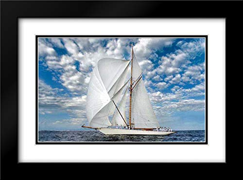 Voyage 40x27 Black Modern Frame and Double Matted Art Print by Ortega, Xavier