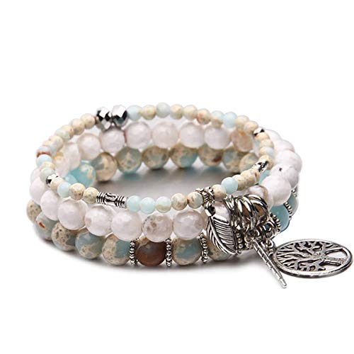 Tree of Life Turquoise Jasper & Tibetan Agate Gemstone Chakra Beaded Bracelet | Beach Charm Bracelet Set - Ocean Jewelry (Sky Blue)