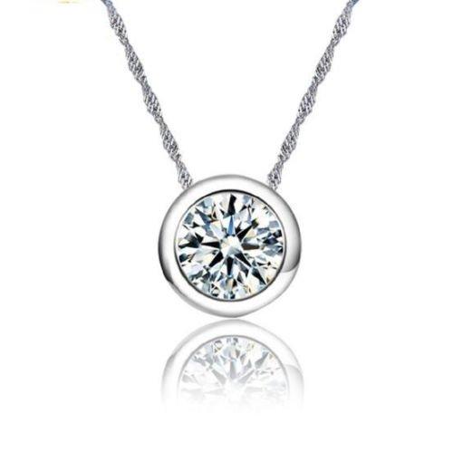 preeyanan Wholesale 925 Silver Necklace Circular AAA Zircon Pendant Fashion Jewelry ()