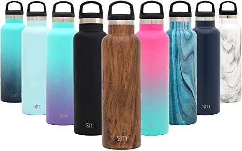 Simple Modern 24oz Ascent Water Bottle - Hydro Vacuum Insulated Flask w/Handle Lid - Double Wall Stainless Steel Reusable - Leakproof Pattern: Wood Grain