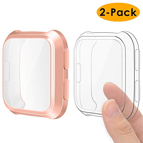 - EZCO Compatible Fitbit Versa Screen Protector Case (2-Pack), Soft TPU Plated Case All-Around Protector Screen Cover Bumper Compatible Fitbit Versa Smart Watch, Rose Gold+Clear