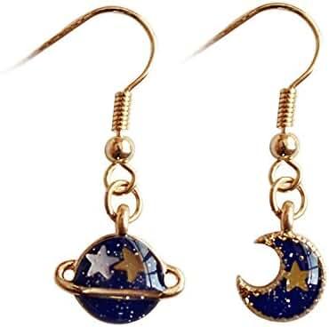 MUZHE Sapphire Blue Earth and Moon Planet Earring