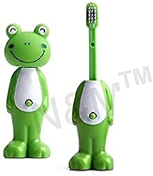 605d772f546 N M Bounce Up Funny Animal Frog Baby Tooth Brush with Toy Head (Green)