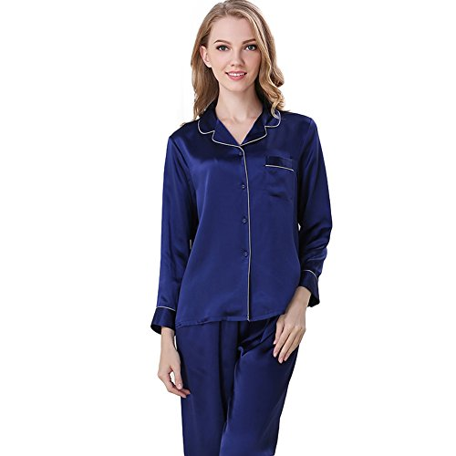 (NANJUN Women's Satin Pajamas Sleepwear Long Button-Down Pj)