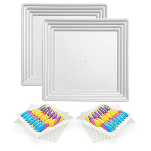 """Elegant Disposable Plastic Serving Trays 24 Pcs - Heavyweight Fancy 12""""x12"""" Square White Large Serving Platters - Reusable Appetizer Tray Party Set For Wedding, Thanksgiving, Birthday & All Occasions"""
