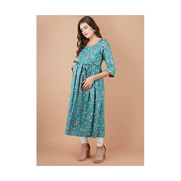 Best Rayon A-line Nursing Kurti With Zip For Mothers Online India
