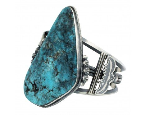 Freddie Maloney, Bracelet, Kingman Turquoise, Harry Morgan Style, Navajo, 6.75in
