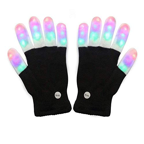 Amazer Light Gloves Adult and Big Children's Finger Light Flashing LED Warm Gloves with Lights for Birthday Light Party Christmas Xmas Dance Thanksgiving Day Gifts for More Fun- Black