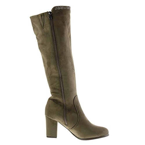 soft high Boots 7 Block Women's CM rhinestone Khaki Fashion 5 Shoes cavalier Angkorly heel zip zqXaSHq