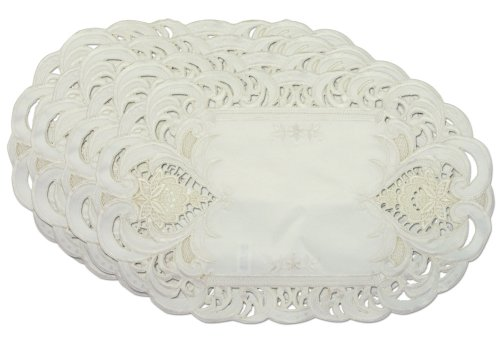 Embroidered-Cream-Lace-Flower-Placemats-Set-of-4-11x17-Oval-Shaped-Machine-Washable
