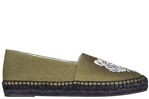 Kenzo-Womens-Cotton-Espadrilles-Slip-On-Shoes-Tiger-Green