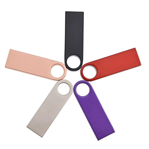 Thumb Drive 8GB Pack of 5 USB Flash Drives - Kepmem Pendrive Metal Casing Mini USB 2.0 Memory Stick - Colorful ()