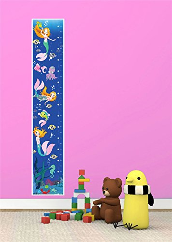 MERMAID UNDER SEA BEDROOM BOY GIRL KIDS TALL CANVAS HEIGHT CHART - Mail Next Delivery Guaranteed Royal Day