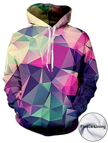 Goodstoworld 3D Geometry Printed Hoodies Mens Womens Casual Pullover Sweatshirt