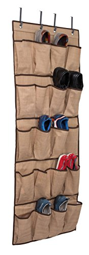Internet's Best Over the Door Hanging Shoe Organizer | 20 Pocket Closet Shoe Bins | Large Canvas Pockets | Brown & ()