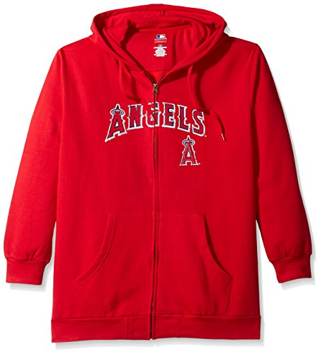 Profile Big & Tall MLB Los Angeles Angels Women's Team Full Zip Fleece Hoodie with Distress Word Mark on Chest, 2X, Red