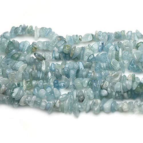 Natural Blue Aquamarine Cyrstal and Gemstone Irregular Chips for Fashion Women Necklace Bracelet Earrings Jewelry Craft Making Sold by One Strand 31 Inch (Aquamarine Strand Bracelet)