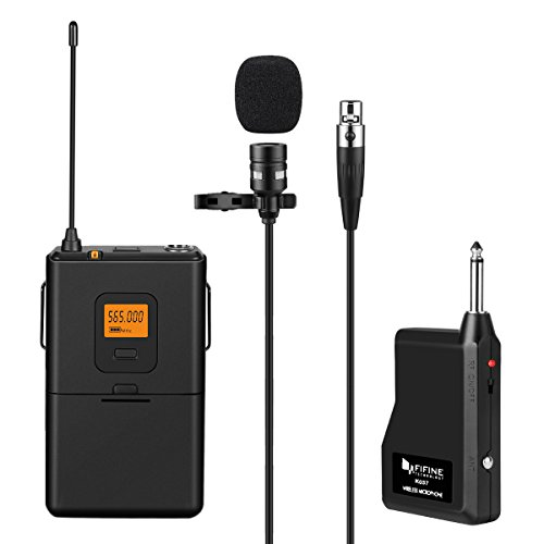 Fifine 20-Channel UHF Wireless Lavalier Lapel Microphone System with Bodypack Transmitter, Mini XLR Female Lapel Mic and Portable Receiver, 1/4 Inch Output. Perfect for Live Performance. (Plug In Wireless System)