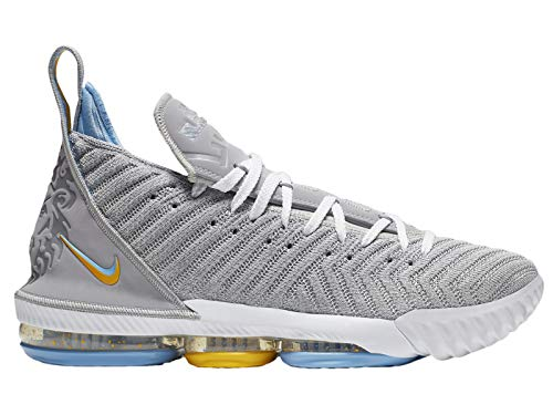 a6b3c6f089fb Nike Men s Lebron 16 Lebron James Wolf Grey White Mesh Basketball Shoes 8.5  M US