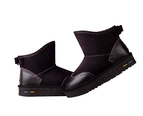HooH Women's Leather Bowknot Winter Warm Snow Boots 5897 Coffee 6Xxa4