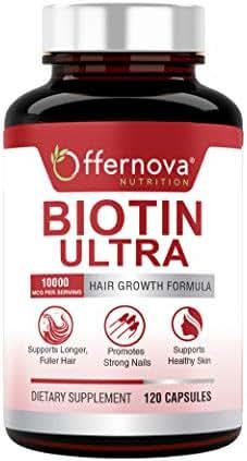 Biotin Ultra - Vitaminas para el Cabello con Biotina - Pastillas para Crecimiento del Pelo y Barba   Fortalece el Pelo Piel y Unas - 120 Tabletas