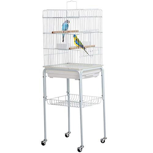 Yaheetech Metal Rolling White Bird Cages for Cockatiels Sun Conures Mid-Sized Parrot Cage Stand with Detachable Stand