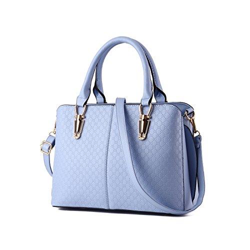 Tisdaini Mujer Bolso Billetero PU Calidad en relieve bolsos de cuero Bolso de mujer Bolso de mensajero en un solo hombro Azur