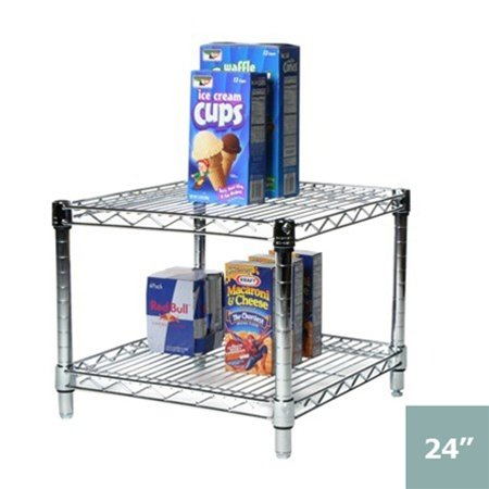 """24""""d x 24""""w Chrome Wire Shelving with 2 Shelves"""