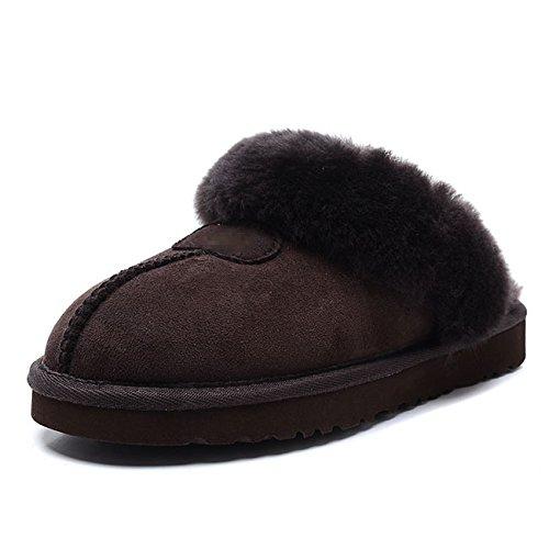 mhgao Ladies Home Interior Cálido Para Reparación de zapatos zapatillas de piel de oveja 4