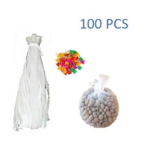 Jennifer Ling 100pcs Mesh Produce Bags,Reusable Nylon Mesh net Produce Grocery Toys Fruits Vegetables Drawstring Storage Poly Bags (White)
