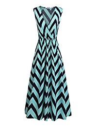 Meaneor Women's V Neck Sleeveless Empire Chevron Striped Tank Top Maxi Dress