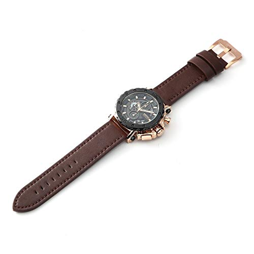 xinhuiqiong Break Men Watch Leather Strap Calendar Waterproof Chronograph Quartz Watch