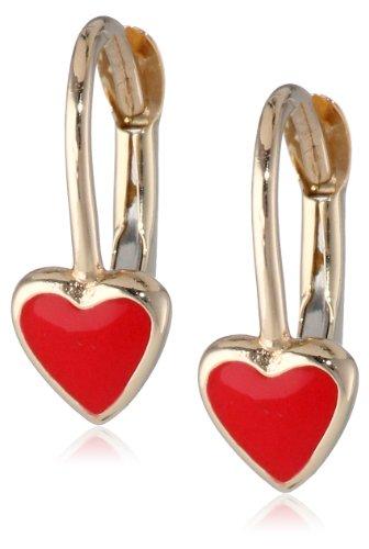 Girls' 14k Yellow Gold True Love Enamel Heart Lever Back Earrings by Amazon Collection