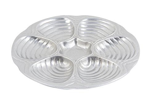 Bon Chef 5017PG Aluminum/Pewter Glo Oyster/Clam Plate, 10-1/2