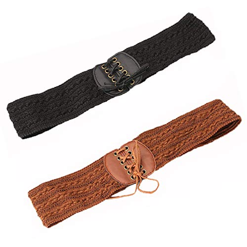PPX 2 Pcs PU Leather Elastic Wide Belt for Women Ladies Dress Stretch Thick Waist Belts, Black and Brown