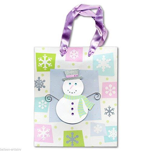 Noël 9.5 Inch Medium Christmas Jewel Snowman Snowflakes Gift Bag (Jewels Christmas Snowman)