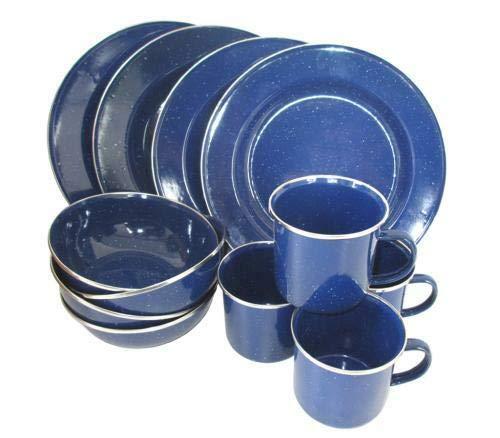 Western Essgeschirr blau emailliert 12-TLG f/ür 4 Personen