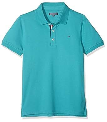 TOMMY HILFIGER Boys' Slim Fit Polo Shirt, Green-Blue Slate, 3 Years