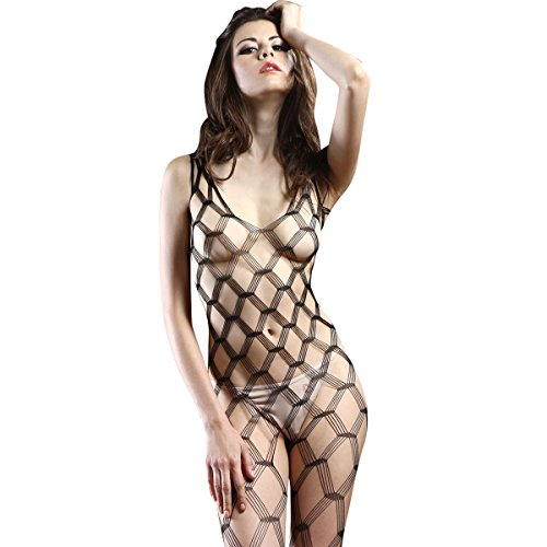 Spaghetti Bodystocking Seamless Strap (TOYLACE Sexy Black Mature Seamless Spaghetti Strap Diamond net Bodystocking)