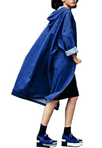 a cappuccio Trincea il Lungo Blu Jean Denim Giacca vento Sciolto Cappotto Donne Giacca Con Oksakady 0zFqOw