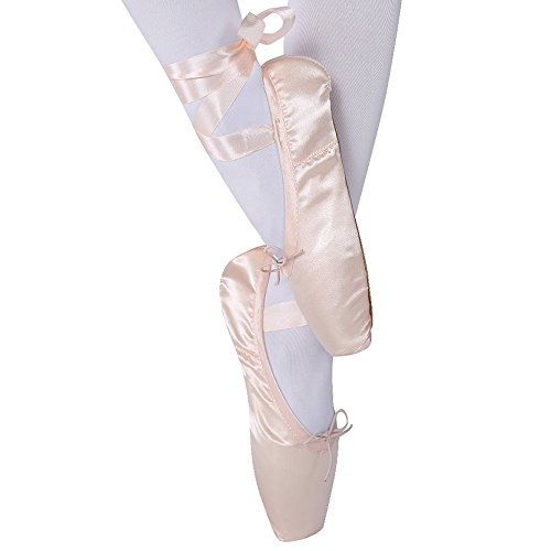 Girls Womens Dance Shoe Pink Sation Ballet Pointe Shoes with Ribbon and Toe Pads (US5.5 (Foot length:8.85 inch))