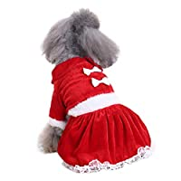 Gnc33Ouhen Pet Clothes for Dog Jackets Coat Dress, Medium Autumn Christmas Dog Clothes Santa Costume Pet T-Shirt Apparel Warm Soft Dress Cat Apparel - Red XL