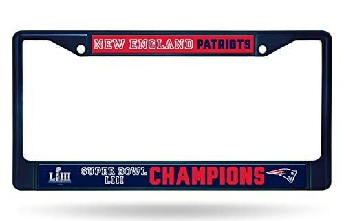 (Rico Industries, Inc. New England Patriots Super Bowl LIII Champions Blue Chrome Frame Metal License Plate Tag Cover Football)