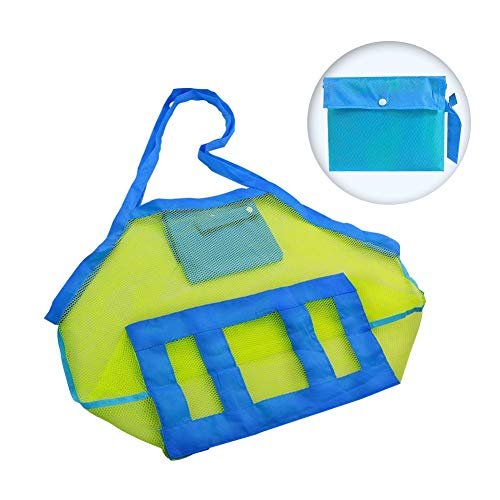 SIHUAN Beach Toy Tote Bags Foldable Sand Away Mesh Beach Storage Bag Large Kids Toys Storage Backpack Net for Beach, Pool, Boat (Green)