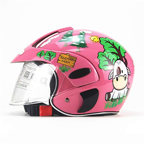 Children's Motocross Motorcycle Motor Helmet Comfortable Protective Carton ty Helmets for Kids 3~9 Years Old Child Pink W ()