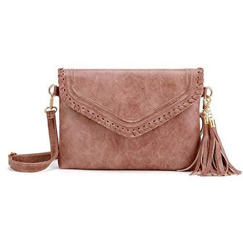 Rakkiss Solid Crossbody Bag Leather Messenger Bag Vintage Handbag Strap Bucket Square -